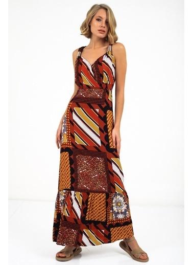 Emjey Metal Askılı Desenli Elbise Taba